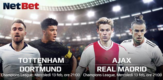 Champions League: Tottenham vs Borussia, Ajax vs Real Madrid. Quote e Pre-partita